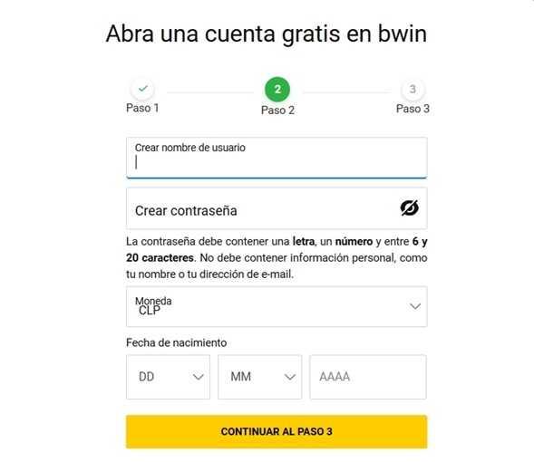 como registrarse en Bwin - paso 2